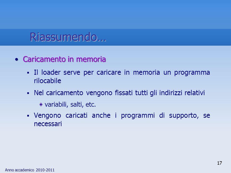 Anno accademico 2010-2011 Caricamento in memoriaCaricamento in memoria Il loader serve per caricare in memoria un programma rilocabile Nel caricamento