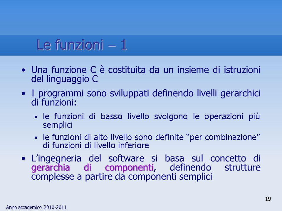 Anno accademico 2010-2011 Una funzione C è costituita da un insieme di istruzioni del linguaggio C I programmi sono sviluppati definendo livelli gerar