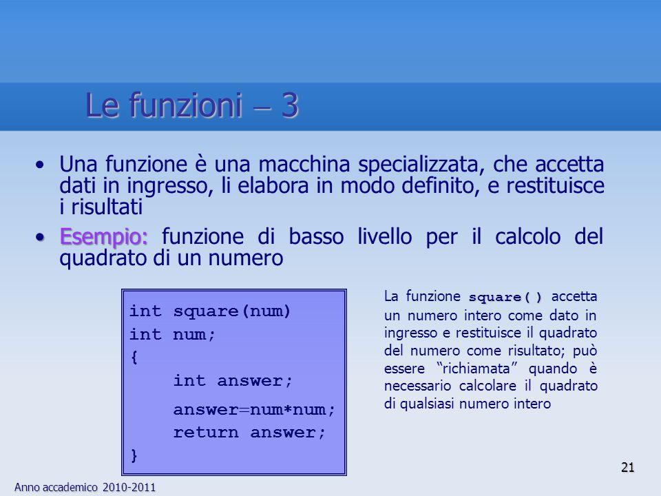 Anno accademico 2010-2011 Una funzione è una macchina specializzata, che accetta dati in ingresso, li elabora in modo definito, e restituisce i risult