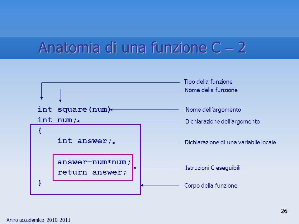 Anno accademico 2010-2011 Tipo della funzione int square(num) int num; { int answer; answer num num; return answer; } Corpo della funzione Nome della