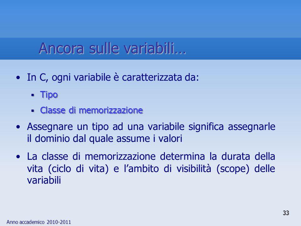 Anno accademico 2010-2011 In C, ogni variabile è caratterizzata da: Tipo Tipo Classe di memorizzazione Classe di memorizzazione Assegnare un tipo ad u