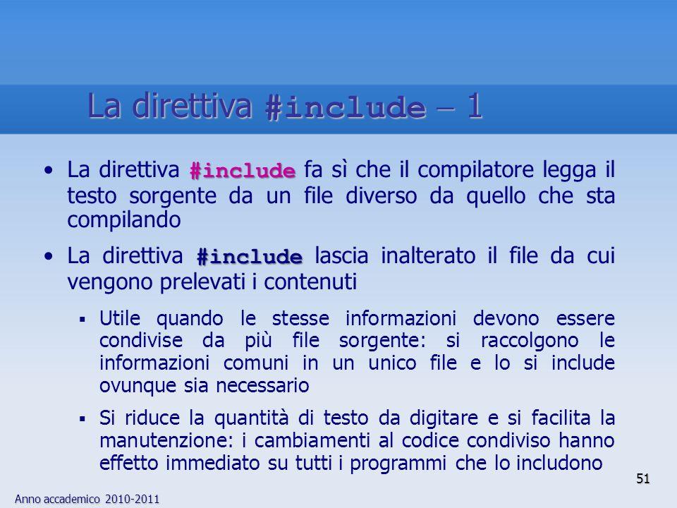 Anno accademico 2010-2011 #includeLa direttiva #include fa sì che il compilatore legga il testo sorgente da un file diverso da quello che sta compilan