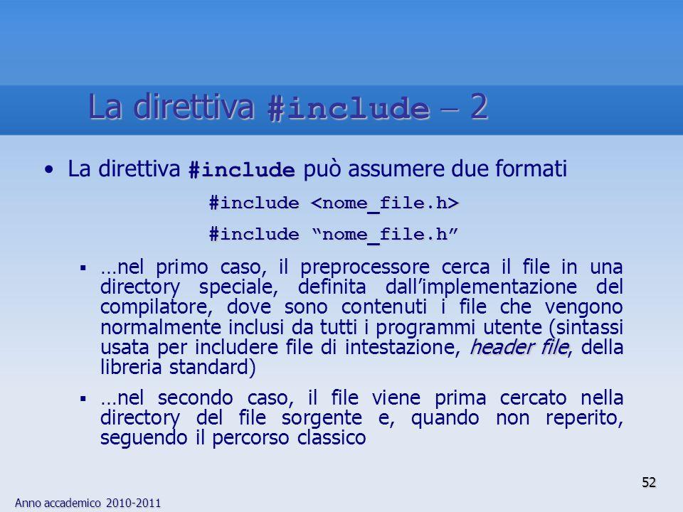 Anno accademico 2010-2011 #includeLa direttiva #include può assumere due formati #include #include #include nome_file.h header file …nel primo caso, i