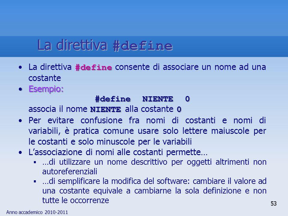 Anno accademico 2010-2011 #defineLa direttiva #define consente di associare un nome ad una costante Esempio:Esempio: #define NIENTE 0 NIENTE0 associa