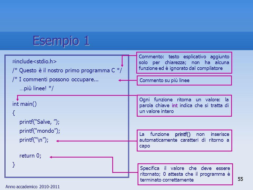 Anno accademico 2010-2011 include /* Questo è il nostro primo programma C */ /* I commenti possono occupare... …più linee! */ int main() { printf(Salv