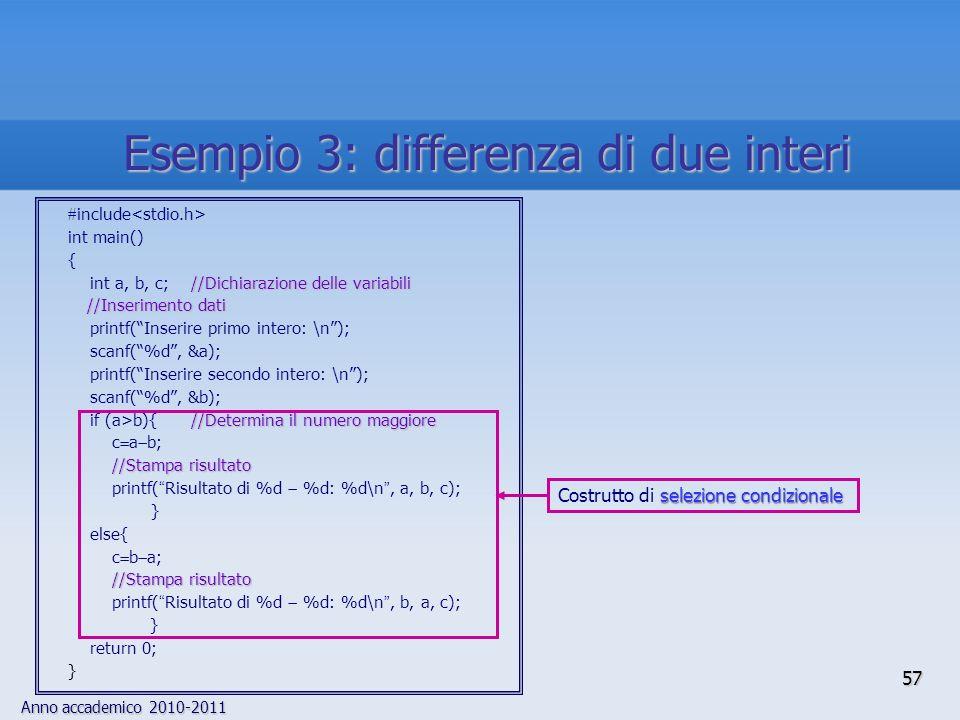 Anno accademico 2010-2011 include int main() { //Dichiarazione delle variabili int a, b, c; //Dichiarazione delle variabili //Inserimento dati printf(