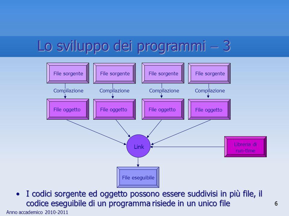 Anno accademico 2010-2011 I codici sorgente ed oggetto possono essere suddivisi in più file, il codice eseguibile di un programma risiede in un unico