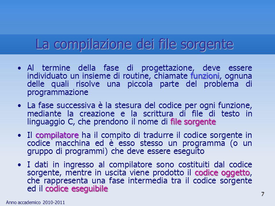 Anno accademico 2010-2011 funzioniAl termine della fase di progettazione, deve essere individuato un insieme di routine, chiamate funzioni, ognuna del