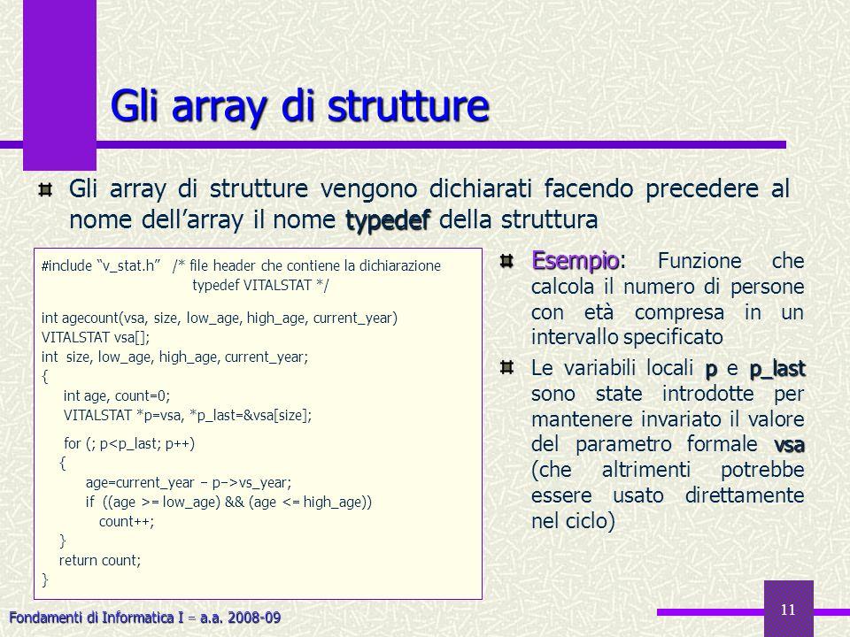 Fondamenti di Informatica I a.a. 2008-09 11 Gli array di strutture include v_stat.h /* file header che contiene la dichiarazione typedef VITALSTAT */