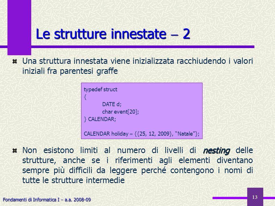 Fondamenti di Informatica I a.a. 2008-09 13 Le strutture innestate 2 Una struttura innestata viene inizializzata racchiudendo i valori iniziali fra pa