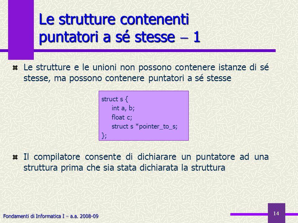 Fondamenti di Informatica I a.a. 2008-09 14 Le strutture contenenti puntatori a sé stesse 1 Le strutture e le unioni non possono contenere istanze di