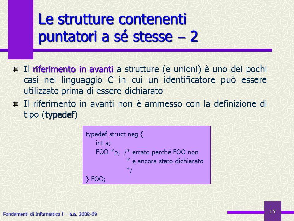 Fondamenti di Informatica I a.a. 2008-09 15 Le strutture contenenti puntatori a sé stesse 2 riferimento in avanti Il riferimento in avanti a strutture