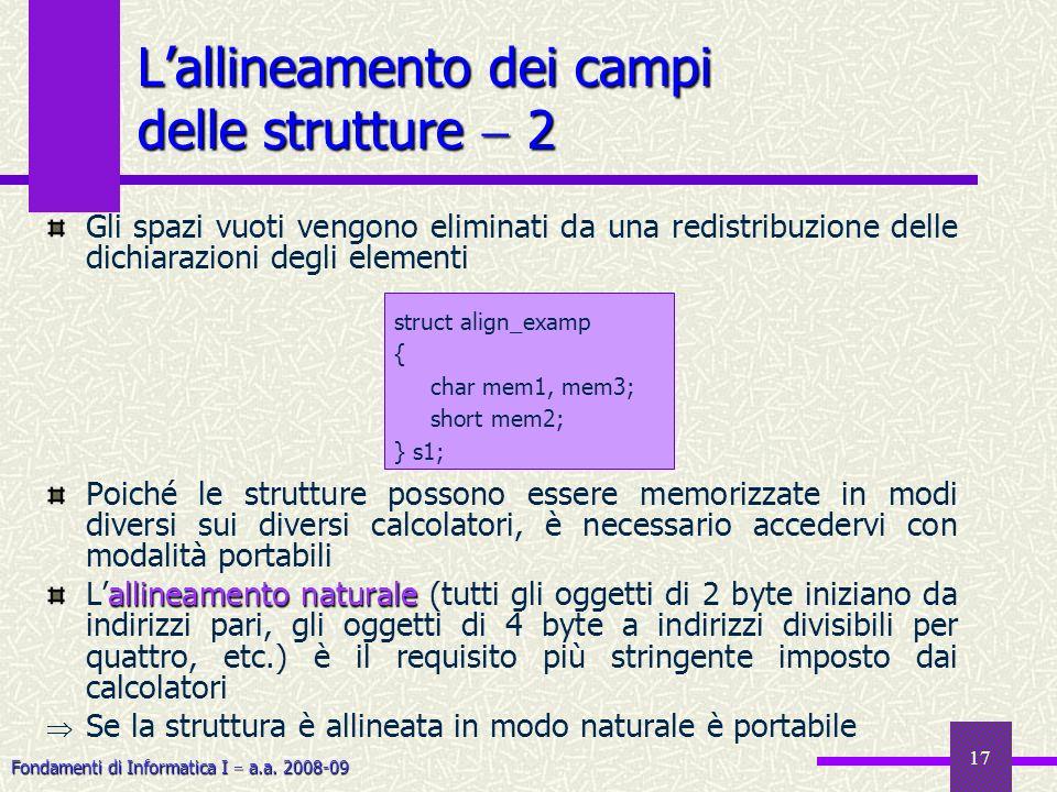 Fondamenti di Informatica I a.a. 2008-09 17 Gli spazi vuoti vengono eliminati da una redistribuzione delle dichiarazioni degli elementi Poiché le stru