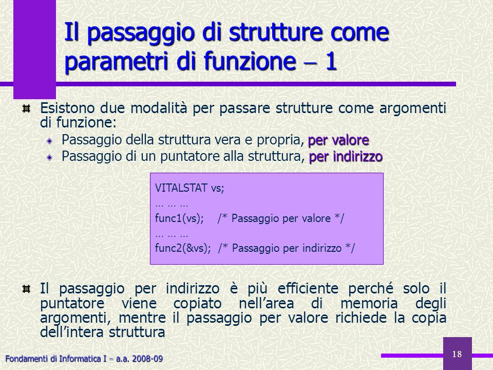 Fondamenti di Informatica I a.a. 2008-09 18 Esistono due modalità per passare strutture come argomenti di funzione: per valore Passaggio della struttu
