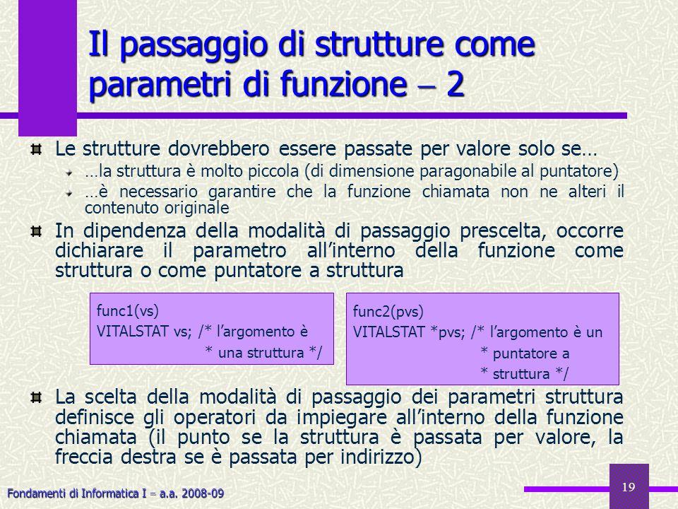 Fondamenti di Informatica I a.a. 2008-09 19 Le strutture dovrebbero essere passate per valore solo se… …la struttura è molto piccola (di dimensione pa