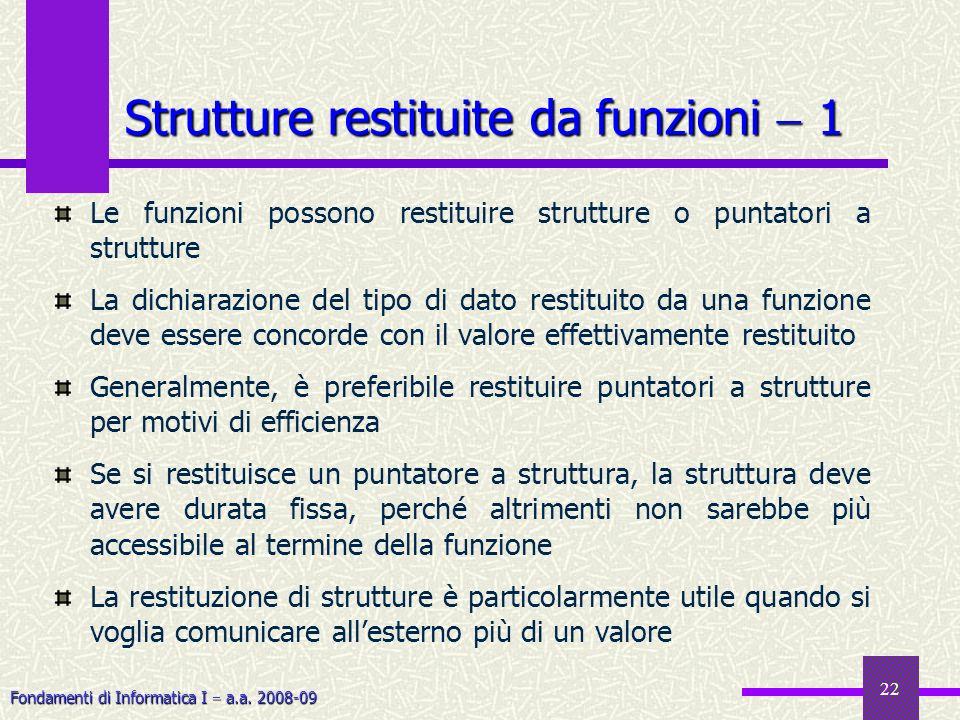 Fondamenti di Informatica I a.a. 2008-09 22 Le funzioni possono restituire strutture o puntatori a strutture La dichiarazione del tipo di dato restitu