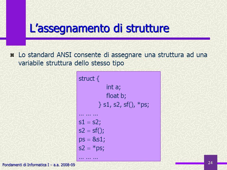 Fondamenti di Informatica I a.a. 2008-09 24 Lassegnamento di strutture Lo standard ANSI consente di assegnare una struttura ad una variabile struttura