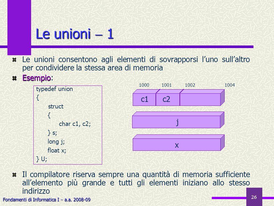 Fondamenti di Informatica I a.a. 2008-09 26 Le unioni 1 Le unioni consentono agli elementi di sovrapporsi luno sullaltro per condividere la stessa are