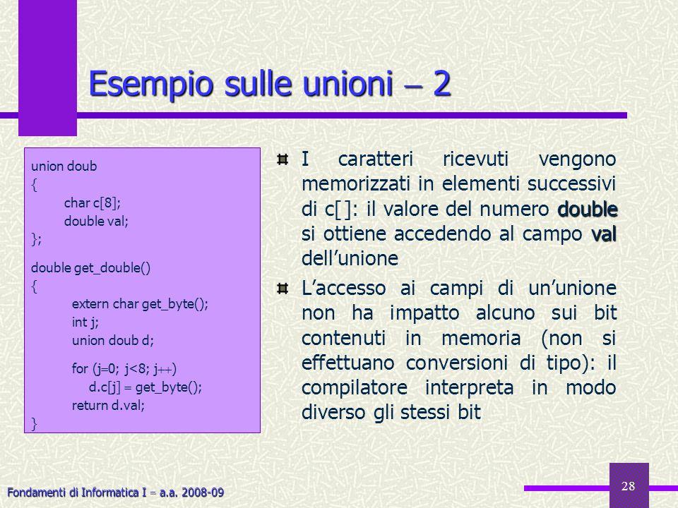 Fondamenti di Informatica I a.a. 2008-09 28 Esempio sulle unioni 2 double val I caratteri ricevuti vengono memorizzati in elementi successivi di c[ ]:
