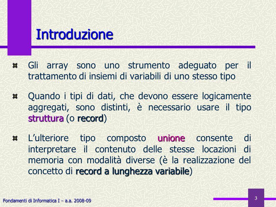 Fondamenti di Informatica I a.a. 2008-09 3 Introduzione Gli array sono uno strumento adeguato per il trattamento di insiemi di variabili di uno stesso