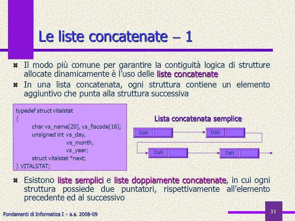 Fondamenti di Informatica I a.a. 2008-09 31 Le liste concatenate 1 liste concatenate Il modo più comune per garantire la contiguità logica di struttur