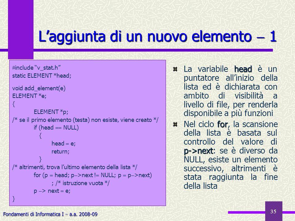 Fondamenti di Informatica I a.a. 2008-09 35 Laggiunta di un nuovo elemento 1 head La variabile head è un puntatore allinizio della lista ed è dichiara