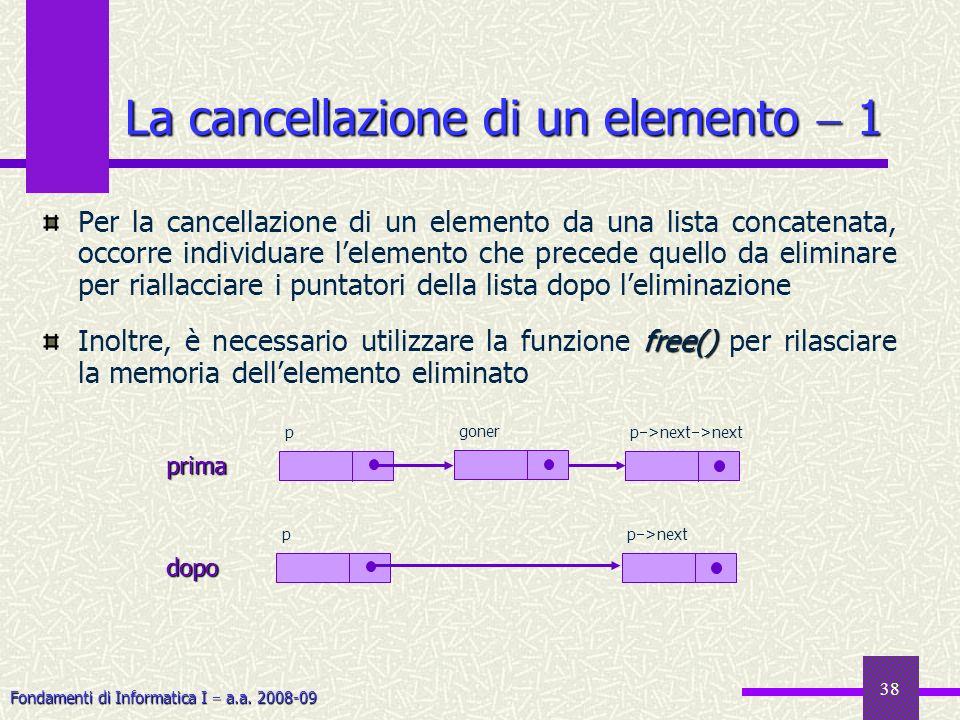 Fondamenti di Informatica I a.a. 2008-09 38 La cancellazione di un elemento 1 Per la cancellazione di un elemento da una lista concatenata, occorre in