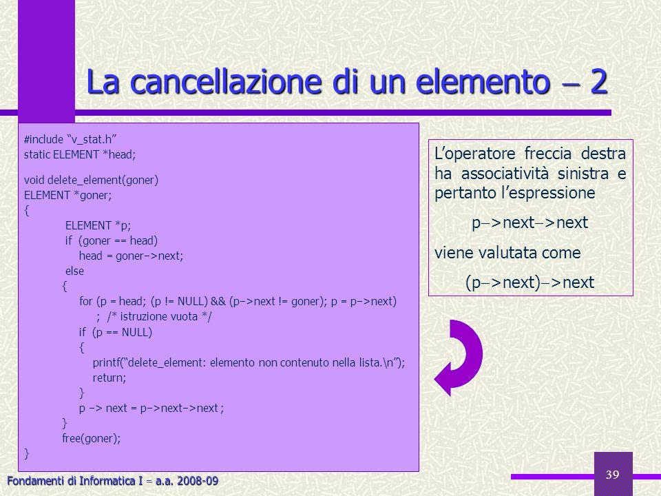 Fondamenti di Informatica I a.a. 2008-09 39 La cancellazione di un elemento 2 include v_stat.h static ELEMENT *head; void delete_element(goner) ELEMEN