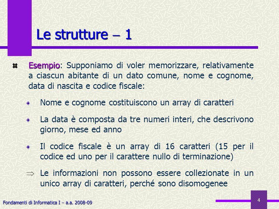 Fondamenti di Informatica I a.a. 2008-09 4 Le strutture 1 Esempio Esempio: Supponiamo di voler memorizzare, relativamente a ciascun abitante di un dat