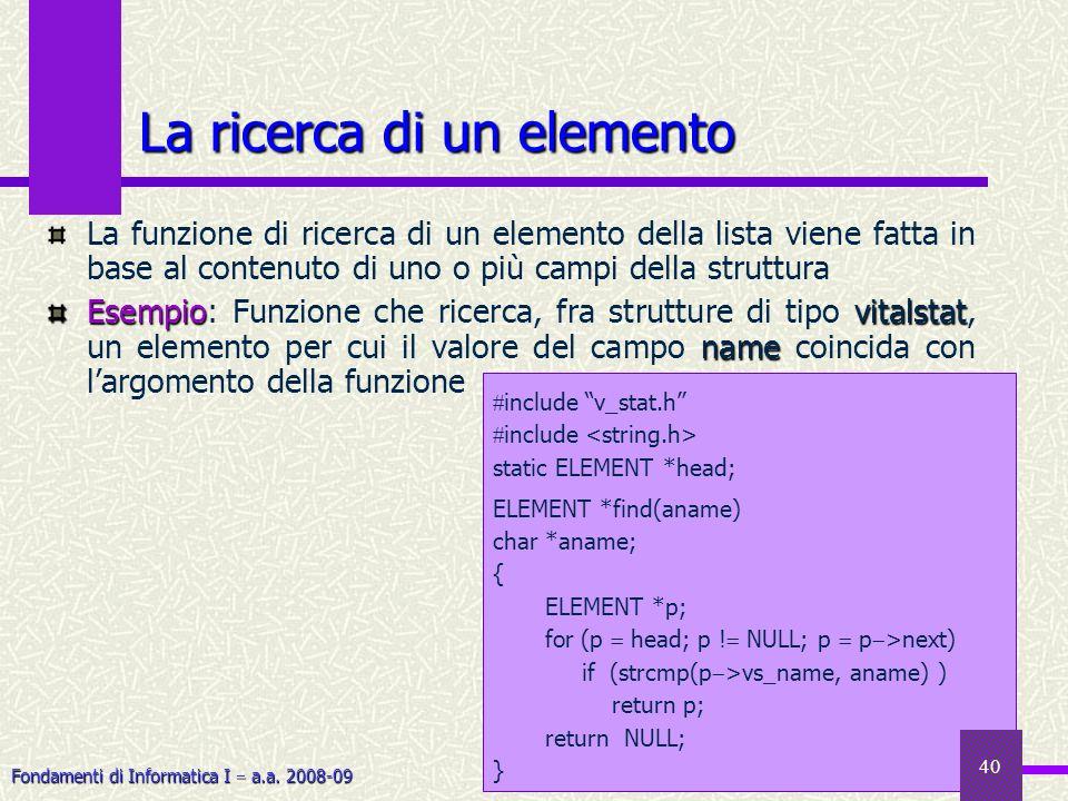 Fondamenti di Informatica I a.a. 2008-09 La ricerca di un elemento La funzione di ricerca di un elemento della lista viene fatta in base al contenuto