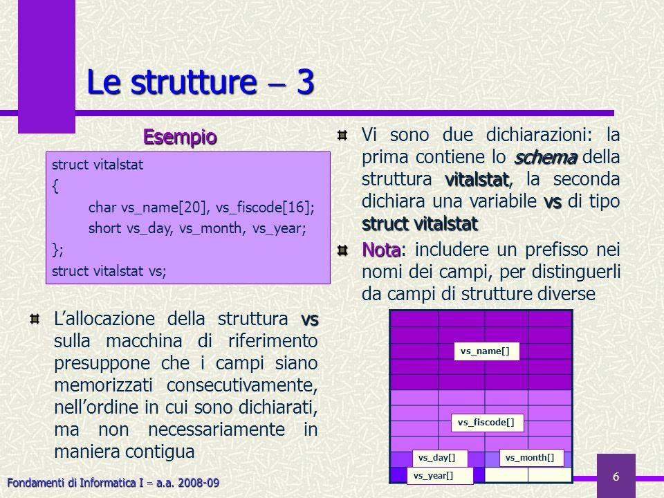 Fondamenti di Informatica I a.a. 2008-09 6 Le strutture 3 schema vitalstat vs structvitalstat Vi sono due dichiarazioni: la prima contiene lo schema d