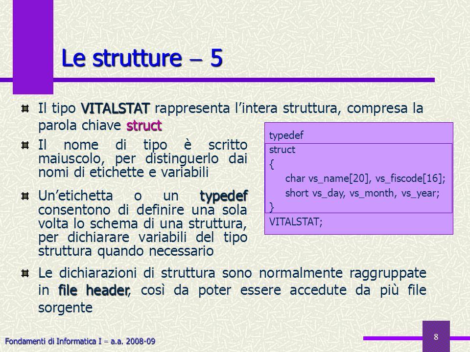 Fondamenti di Informatica I a.a. 2008-09 8 Le strutture 5 Il nome di tipo è scritto maiuscolo, per distinguerlo dai nomi di etichette e variabili type