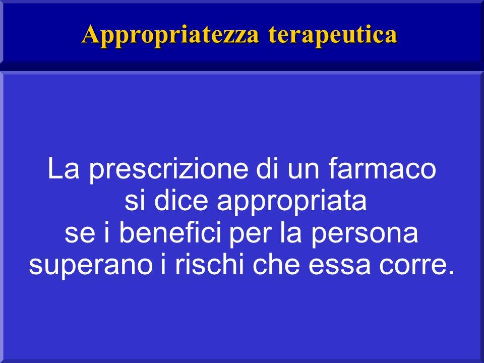 La prescrizione di un farmaco si dice appropriata se i benefici per la persona superano i rischi che essa corre.
