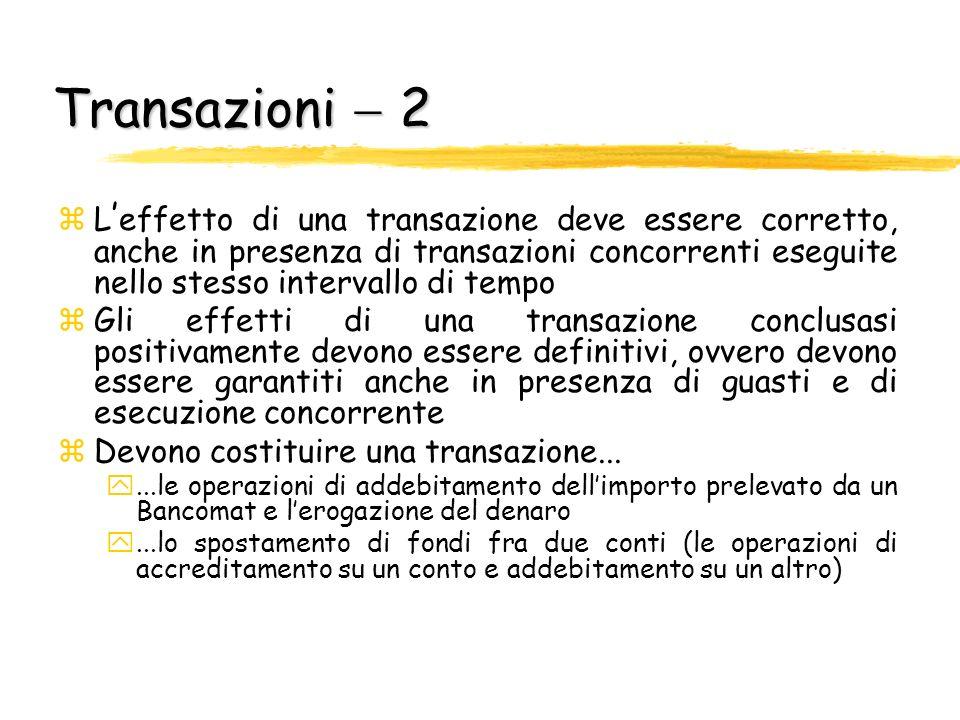 Transazioni 2 L effetto di una transazione deve essere corretto, anche in presenza di transazioni concorrenti eseguite nello stesso intervallo di temp