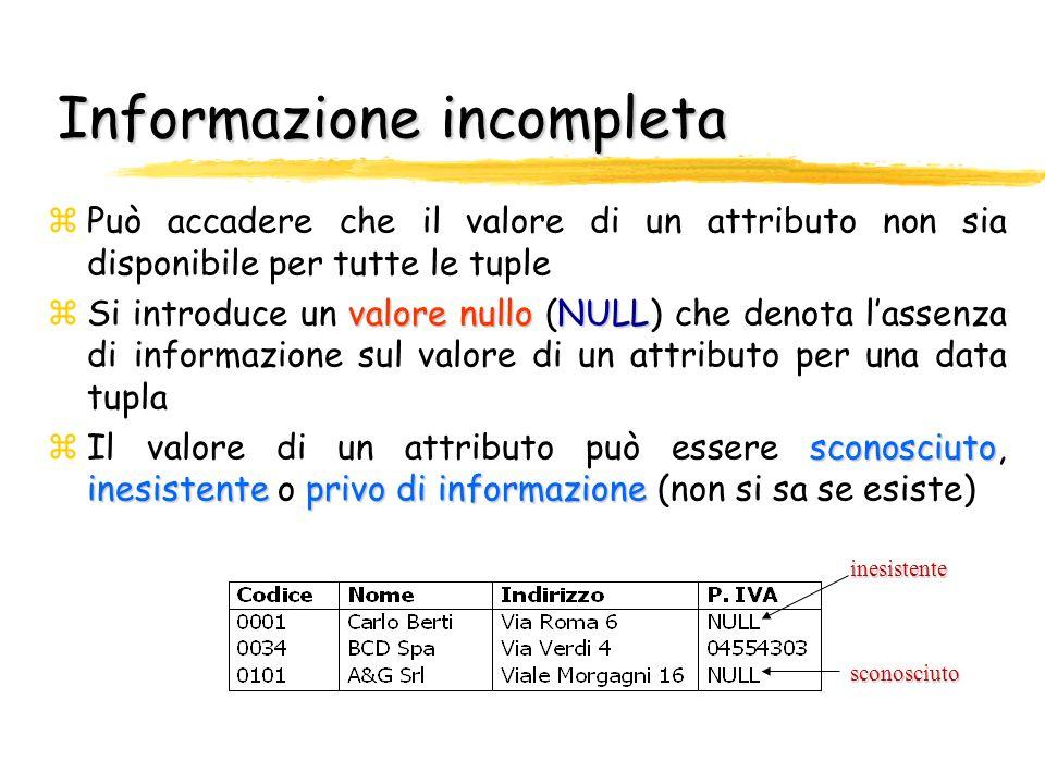 Informazione incompleta zPuò accadere che il valore di un attributo non sia disponibile per tutte le tuple valore nulloNULL zSi introduce un valore nu