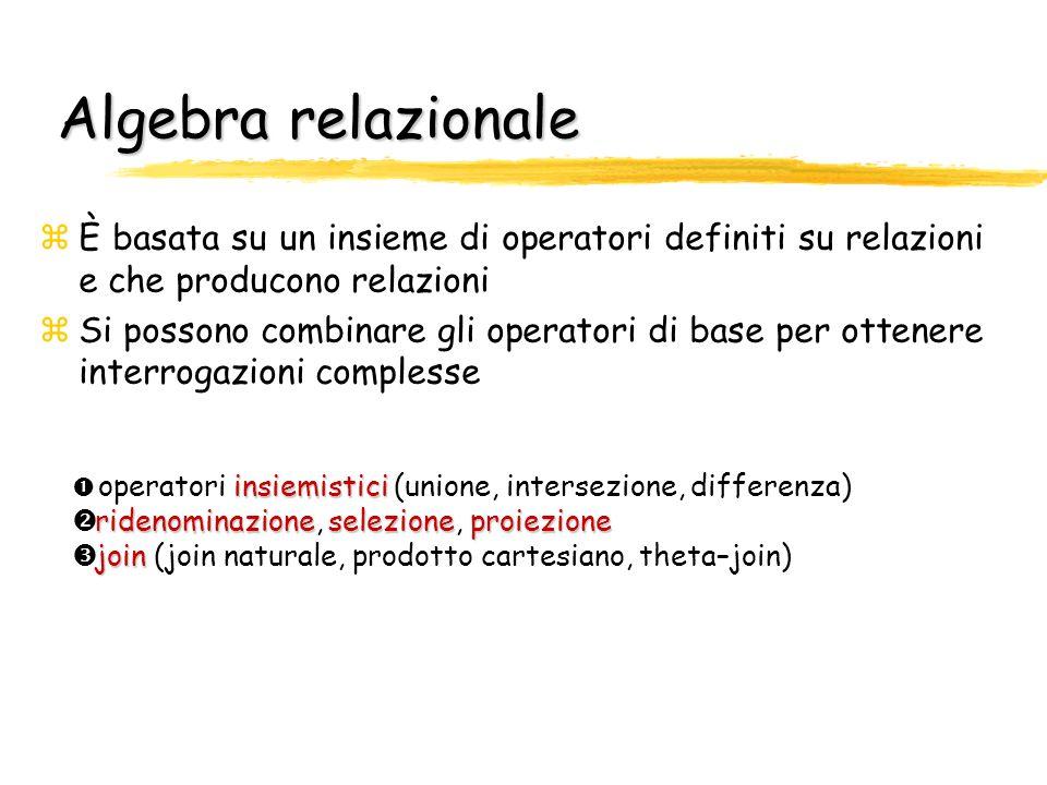 Algebra relazionale zÈ basata su un insieme di operatori definiti su relazioni e che producono relazioni zSi possono combinare gli operatori di base p