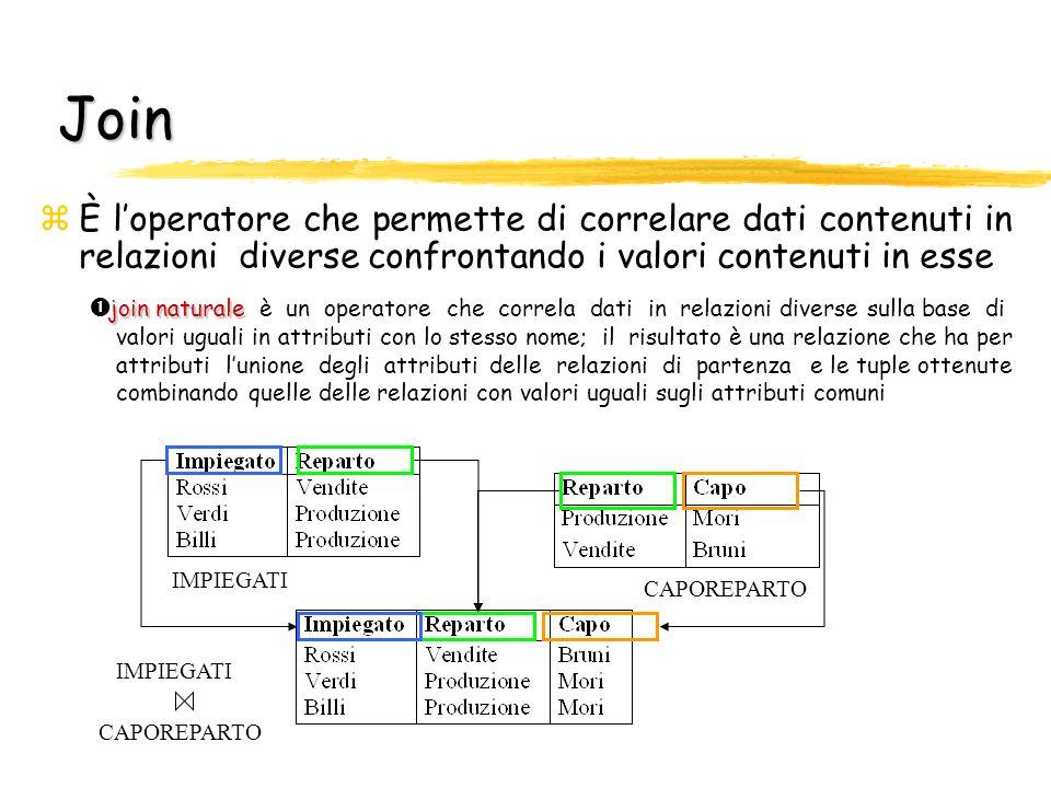 Join zÈ loperatore che permette di correlare dati contenuti in relazioni diverse confrontando i valori contenuti in esse join naturale join naturale è