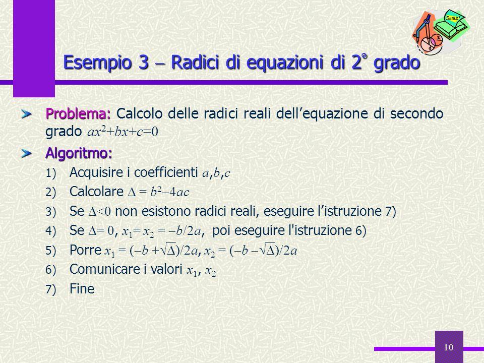 10 Problema: Problema: Calcolo delle radici reali dellequazione di secondo grado ax 2 +bx+c=0Algoritmo: 1) Acquisire i coefficienti a, b, c 2) Calcola