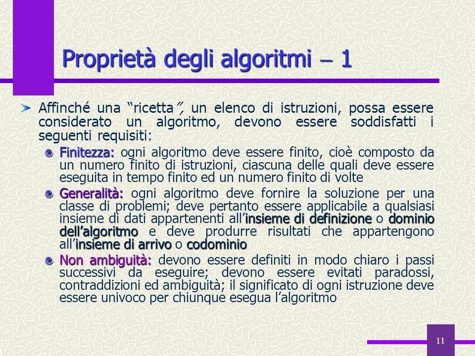 11 Affinché una ricetta, un elenco di istruzioni, possa essere considerato un algoritmo, devono essere soddisfatti i seguenti requisiti: Finitezza: Fi