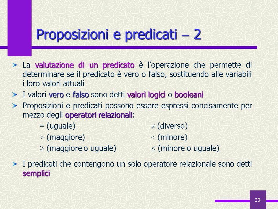 23 valutazione di un predicato La valutazione di un predicato è loperazione che permette di determinare se il predicato è vero o falso, sostituendo al