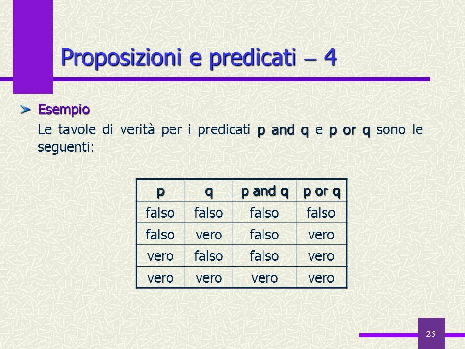 25 Proposizioni e predicati 4 Esempio pand qp or q Le tavole di verità per i predicati p and q e p or q sono le seguenti:pq p and q p or q falso verof