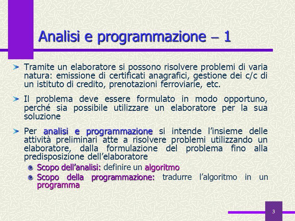 3 Analisi e programmazione 1 Tramite un elaboratore si possono risolvere problemi di varia natura: emissione di certificati anagrafici, gestione dei c