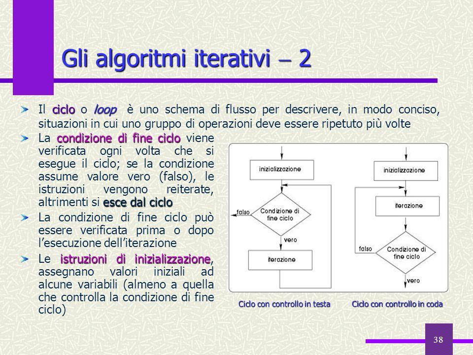 38 cicloloop Il ciclo o loop è uno schema di flusso per descrivere, in modo conciso, situazioni in cui uno gruppo di operazioni deve essere ripetuto p