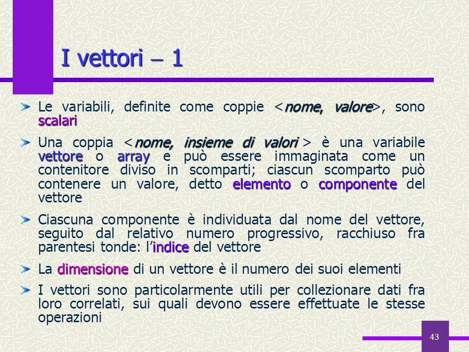 43 nome, valore scalari Le variabili, definite come coppie, sono scalari nome, insieme di valori vettorearray elementocomponente Una coppia è una vari