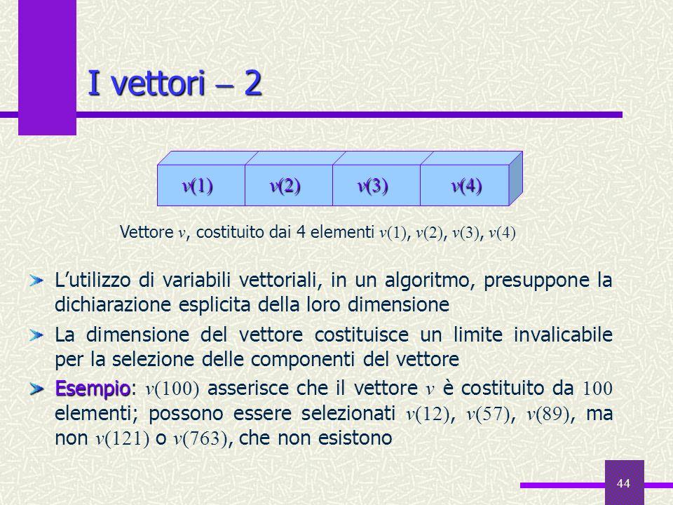 44 Lutilizzo di variabili vettoriali, in un algoritmo, presuppone la dichiarazione esplicita della loro dimensione La dimensione del vettore costituis