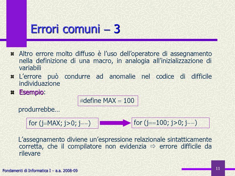 Fondamenti di Informatica I a.a. 2008-09 11 Errori comuni 3 Altro errore molto diffuso è luso delloperatore di assegnamento nella definizione di una m