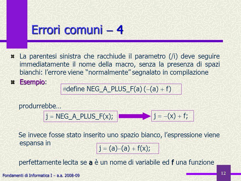 Fondamenti di Informatica I a.a. 2008-09 12 Errori comuni 4 La parentesi sinistra che racchiude il parametro (/i) deve seguire immediatamente il nome