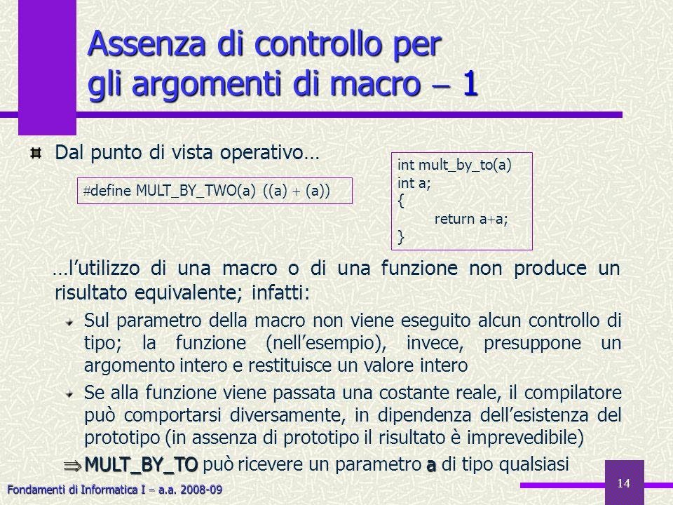Fondamenti di Informatica I a.a. 2008-09 14 Assenza di controllo per gli argomenti di macro 1 Dal punto di vista operativo… …lutilizzo di una macro o