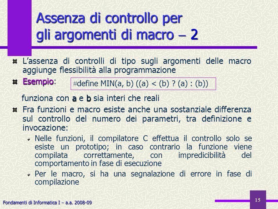 Fondamenti di Informatica I a.a. 2008-09 15 Assenza di controllo per gli argomenti di macro 2 Lassenza di controlli di tipo sugli argomenti delle macr