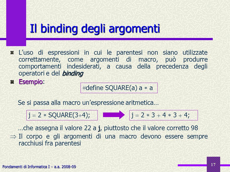 Fondamenti di Informatica I a.a. 2008-09 17 Il binding degli argomenti binding Luso di espressioni in cui le parentesi non siano utilizzate correttame